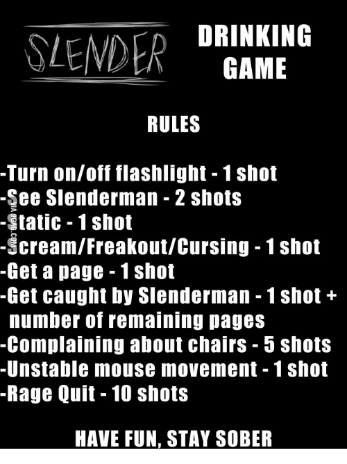 Drinking Slender Game Rules Turn Onoff Flashlight 1shot See