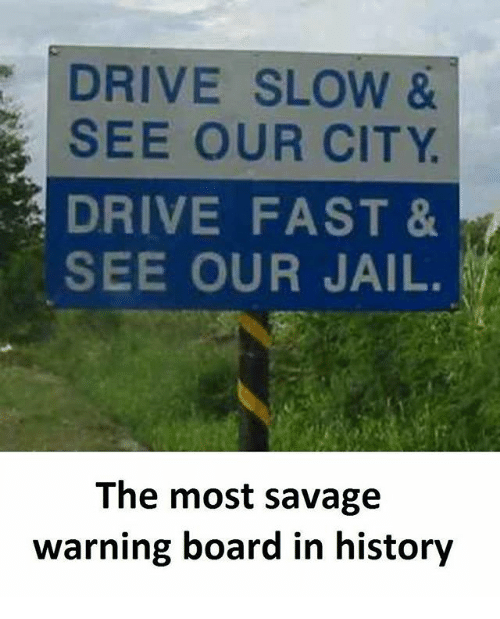 Jail, Memes, and Savage: DRIVE SLOW &  SEE OUR CITY  DRIVE FAST &  SEE OUR JAIL.  The most savage  warning board in history