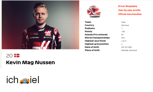 Driver Biography Year-By-Year Profile Official Merchandise