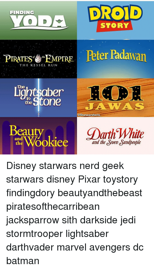 Batman, Empire, and Jedi: DROID  FINDING  a  STORY  PIRATES EMPIRE  Peter Padawan  THE KESSEL RUN  Ligho the  One  A WAS  l@Starwarsfacts  CDarth White  eauty  Wookiee  and the deve esamapeople Disney starwars nerd geek starwars disney Pixar toystory findingdory beautyandthebeast piratesofthecarribean jacksparrow sith darkside jedi stormtrooper lightsaber darthvader marvel avengers dc batman