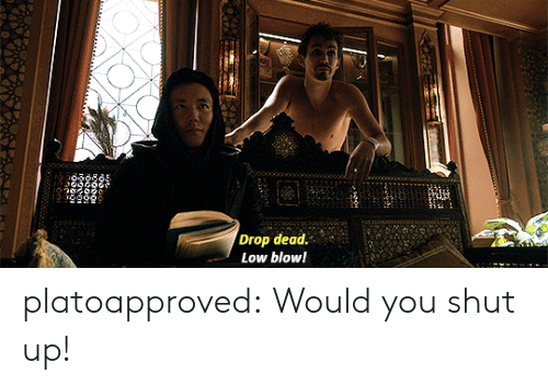 Shut Up, Tumblr, and Blog: Drop dead.'  Low blow! platoapproved:  Would you shut up!