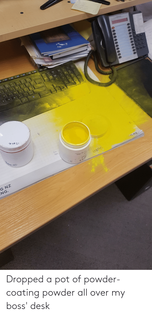 Desk, Boss, and Powder: Dropped a pot of powder-coating powder all over my boss' desk