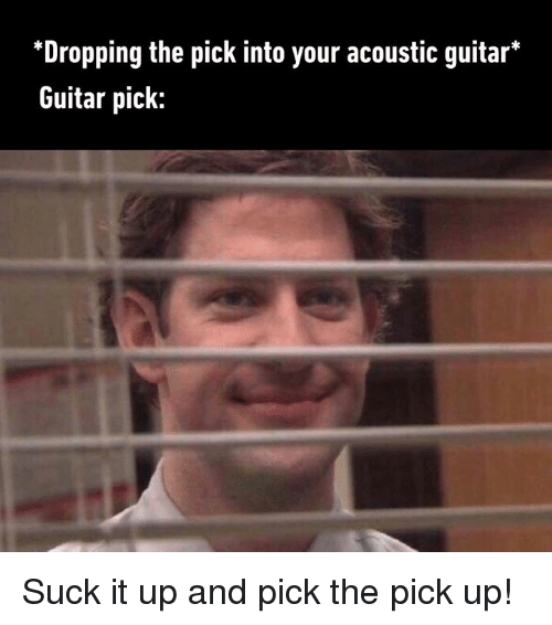 Dank, Guitar, and 🤖: *Dropping the pick into your acoustic guitar*  Guitar pick: Suck it up and pick the pick up!