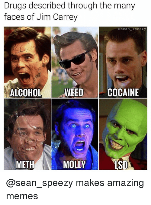 Drugs, Jim Carrey, and Memes: Drugs described through the many  faces of Jim Carrey  sean-speezy  ALCOHOLWEEDCOC  METH  MOLLY  SD @sean_speezy makes amazing memes