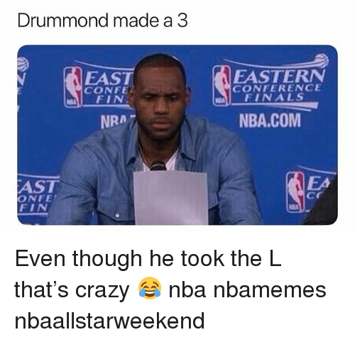 Basketball, Crazy, and Finals: Drummond made a 3  EAST  CONFE  FIN  EASTERN  FINALS  NBA.COM  CONFERENCE  NRA 7  EA  AST  ONFE  cr  EIN Even though he took the L that's crazy 😂 nba nbamemes nbaallstarweekend