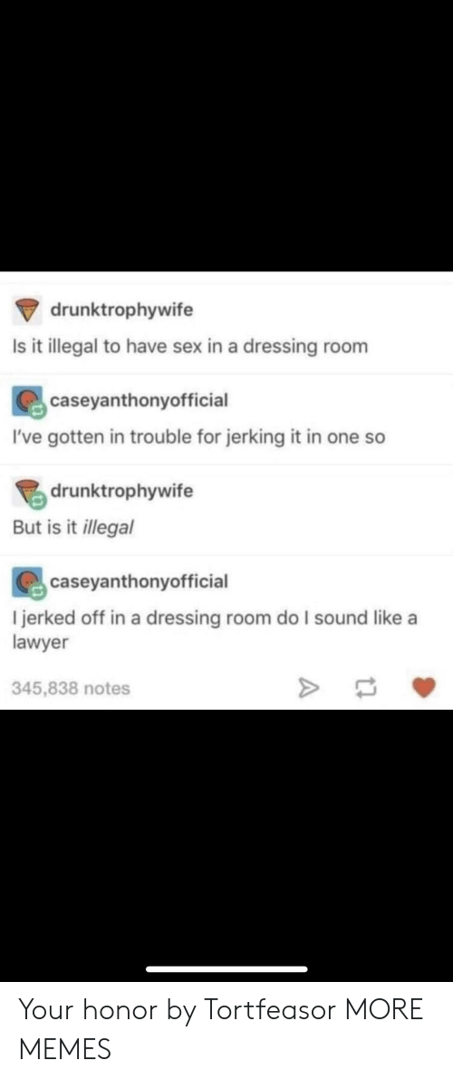 Dank, Lawyer, and Memes: drunktrophywife  Is it illegal to have sex in a dressing room  caseyanthonyofficial  I've gotten in trouble for jerking it in one so  drunktrophywife  But is it llegal  caseyanthonyofficial  l jerked off in a dressing room do I sound like a  lawyer  345,838 notes Your honor by Tortfeasor MORE MEMES