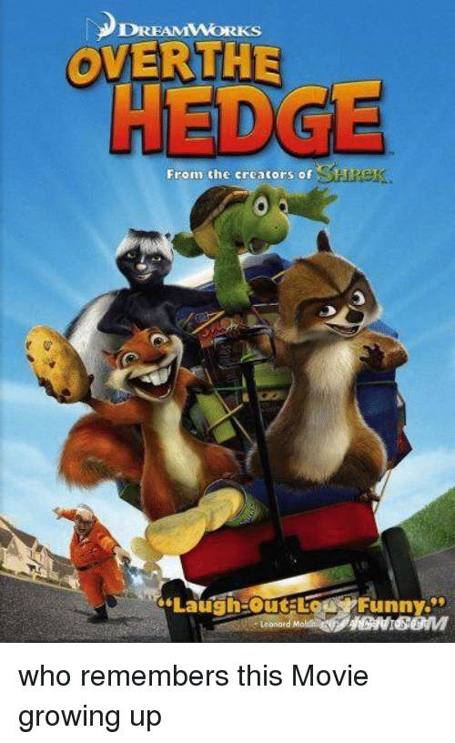 Growing Up, Movie, and Who: Ds  OVERTHE  HEDGE  From the creators of  Laugh-outto  -unny.