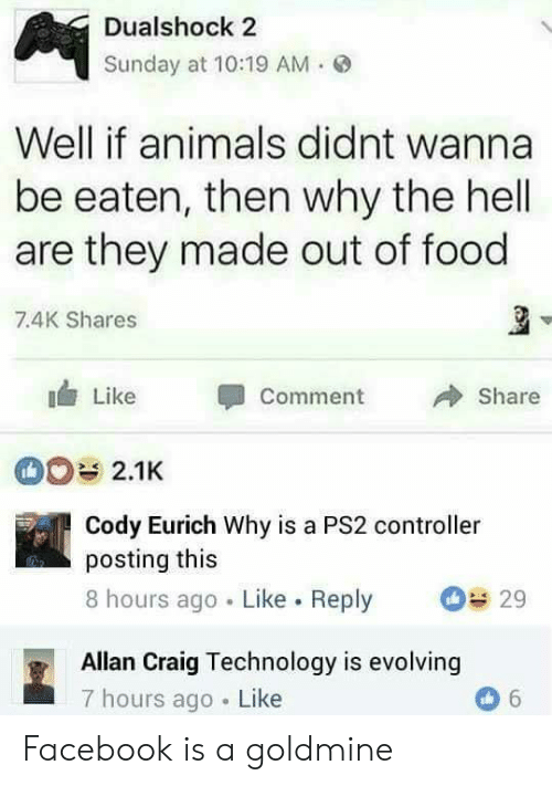 Animals, Facebook, and Food: Dualshock 2  Sunday at 10:19 AM.  Well if animals didnt wanna  be eaten, then why the hell  are they made out of food  7.4K Shares  Like Comment 冷Share  Cody Eurich Why is a PS2 controller  posting this  8 hours ago Like. Reply 29  Allan Craig Technology is evolving  7 hours ago Like Facebook is a goldmine