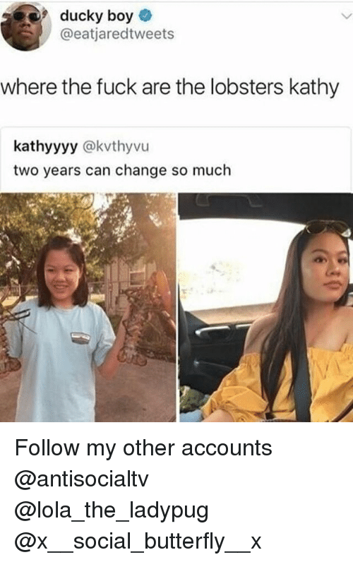 Memes, Butterfly, and Fuck: ducky boy  @eatjaredtweets  where the fuck are the lobsters kathy  kathyyyy @kvthyvu  two years can change so much Follow my other accounts @antisocialtv @lola_the_ladypug @x__social_butterfly__x