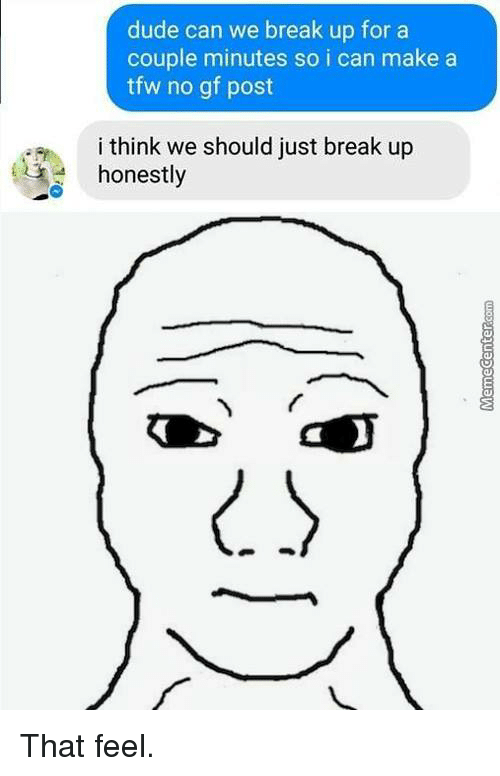 Dude Can We Break Up For A Couple Minutes So I Can Make A Tfw No Gf