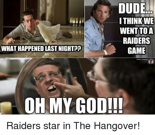Dude, God, and Nfl: DUDE  ITHINK WE  WENT TO A  RAIDERS  WHATHAPPENEDLASTNIGHT??  GAME  OH MY GOD!!! Raiders star in The Hangover!