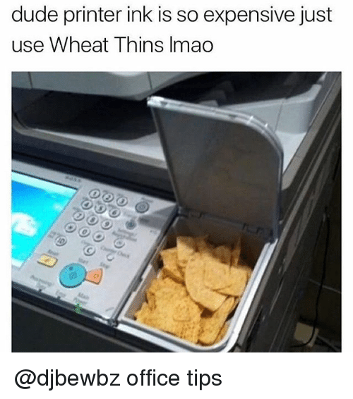 Dude, Lmao, and Memes: dude printer ink is so expensive just  use Wheat Thins lmao @djbewbz office tips