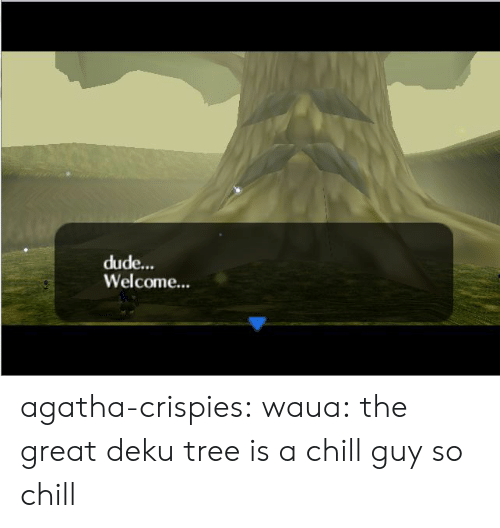 Chill, Dude, and Tumblr: dude...  Welcome... agatha-crispies:  waua:  the great deku tree is a chill guy  so chill
