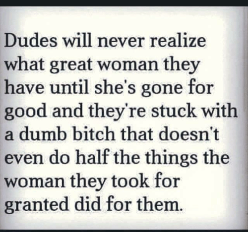 Bitch, Dumb, and Relationships: Dudes will never realize  what great woman they  have until she's gone for  good and they're stuck with  a dumb bitch that doesn't  even do half the things the  woman they took for  granted did for them.