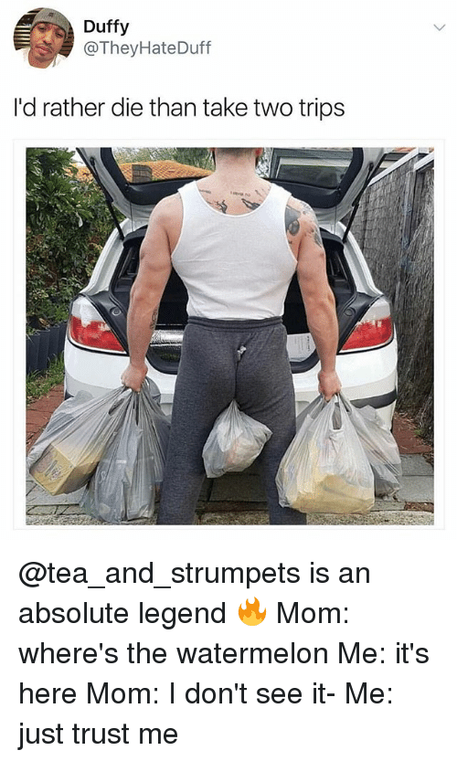 Dank Memes, Mom, and Duffy: Duffy  @TheyHateDuff  I'd rather die than take two trips @tea_and_strumpets is an absolute legend 🔥 Mom: where's the watermelon Me: it's here Mom: I don't see it- Me: just trust me
