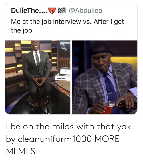 Dank, Job Interview, and Memes: DulieThe....@Abdulieo  Me at the job interview vs. After I get  the job I be on the milds with that yak by cleanuniform1000 MORE MEMES
