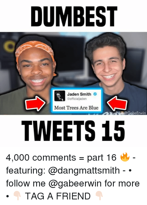 Jaden Smith, Memes, and Blue: DUMBEST  Jaden Smith  @officialjaden  Most Trees Are Blue  @GabeErwin  TWEETS 15 4,000 comments = part 16 🔥 - featuring: @dangmattsmith - • follow me @gabeerwin for more • 👇🏻 TAG A FRIEND 👇🏻