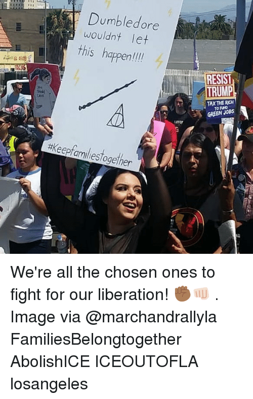 Dumbledore, Memes, and Image: Dumbledore  wouldnt let  this happen  hapenli  RESIST  TAX THE RICH  TO FIND  GREEN JOB  #keepfamiliestogether  12 We're all the chosen ones to fight for our liberation! ✊🏾👊🏻 . Image via @marchandrallyla FamiliesBelongtogether AbolishICE ICEOUTOFLA losangeles
