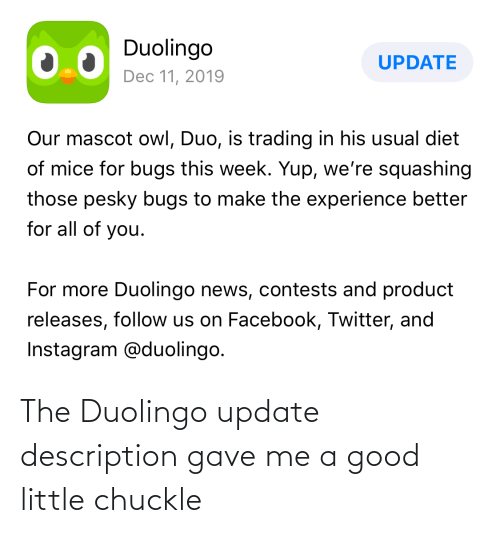 Facebook, Instagram, and News: Duolingo  UPDATE  Dec 11, 2019  Our mascot owl, Duo, is trading in his usual diet  of mice for bugs this week. Yup, we're squashing  those pesky bugs to make the experience better  for all of you.  For more Duolingo news, contests and product  releases, follow us on Facebook, Twitter, and  Instagram @duolingo. The Duolingo update description gave me a good little chuckle