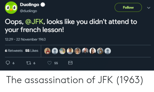 Assassination, French, and Jfk: DuolingoC  @duolingo  Follow  Oops, @JFK, looks like you didn't attend to  your french lesson!  12:29 -22 November 1963  6 Retweets  55 Likes The assassination of JFK (1963)