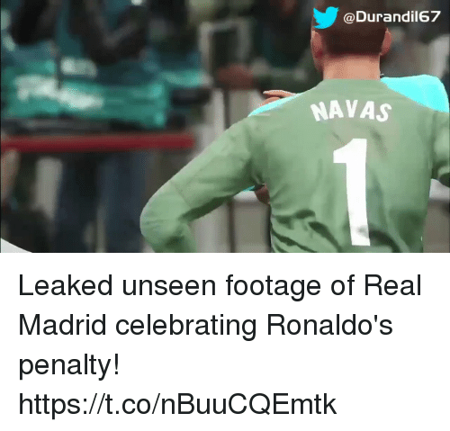 Real Madrid, Soccer, and Madrid: @Durandil67  NAVAS Leaked unseen footage of Real Madrid celebrating Ronaldo's penalty! https://t.co/nBuuCQEmtk