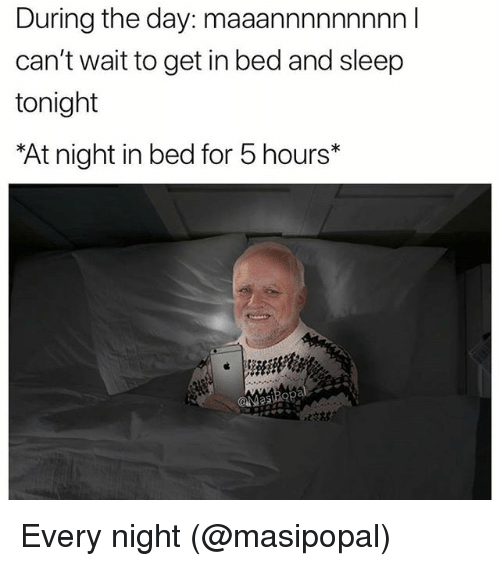 Memes, Sleep, and 🤖: During the day: maaannnnnnnnn I  can't wait to get in bed and sleep  tonight  At night in bed for 5 hours*  ˊ炆林 Every night (@masipopal)
