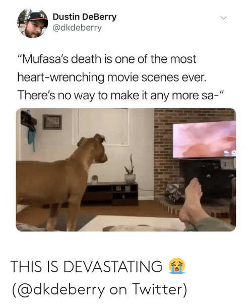 """Memes, Twitter, and Death: Dustin DeBerry  @dkdeberry  """"Mufasa's death is one of the most  heart-wrenching movie scenes ever.  There's no way to make it any more sa-"""" THIS IS DEVASTATING 😭(@dkdeberry on Twitter)"""