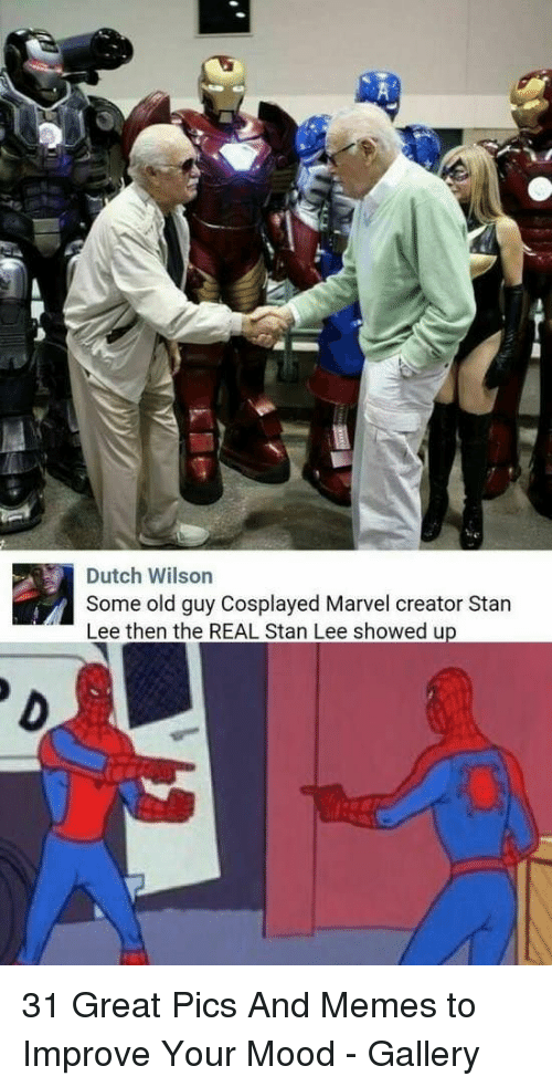 Memes, Mood, and Stan: Dutch Wilson  Some old guy Cosplayed Marvel creator Stan  Lee then the REAL Stan Lee showed up 31 Great Pics And Memes to Improve Your Mood - Gallery