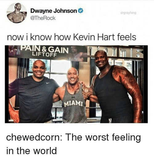 Dwayne Johnson, Kevin Hart, and The Worst: Dwayne Johnson  @TheRock  drgrayfang  now i know how Kevin Hart feels  PAIN & GAIN  LIFTOFF  MIAMI chewedcorn:  The worst feeling in the world
