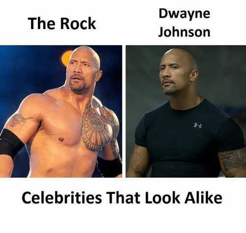 The Rock, Celebrities, and Looking: Dwayne  The Rock  Johnson  Celebrities That Look Alike