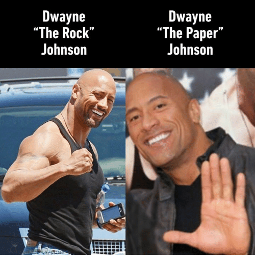 "Dank, The Rock, and 🤖: Dwayne  ""The Rock""  Johnson  Dwayne  ""The Paper""  Johnson"
