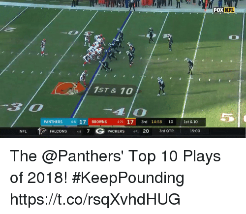 Memes, Nfl, and Browns: DXNFL  1ST & 10  4lo  PANTHERS 66 17 BROWNS 471 17 3rd 14:58 10 1st & 10  48 7 G  PACKERS  20 3rd QTR 15:00  NFL The @Panthers' Top 10 Plays of 2018! #KeepPounding https://t.co/rsqXvhdHUG