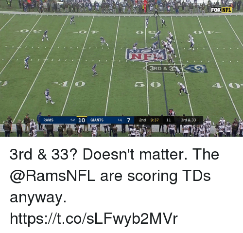 Memes, Giants, and Rams: DXNFL  NF  3RD & 3  RAMS  5-2 10 GIANTS  16 7 2nd 9:37 11 3rd &33  63  92  50 58  36 2 3rd & 33? Doesn't matter.  The @RamsNFL are scoring TDs anyway. https://t.co/sLFwyb2MVr