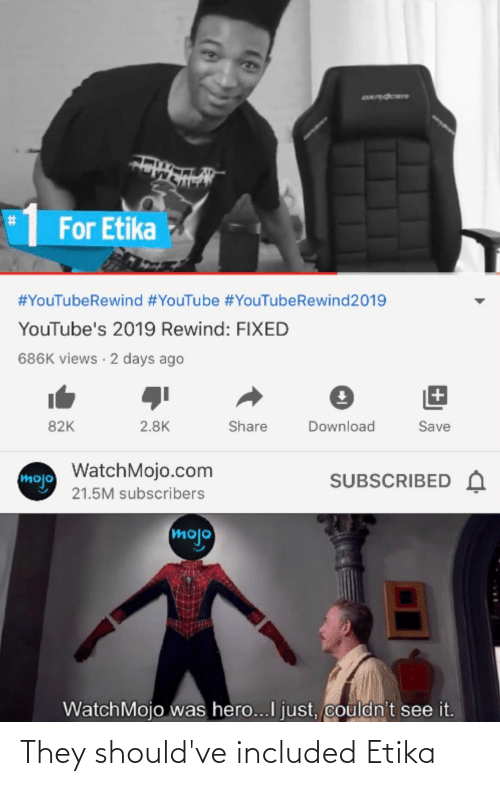 youtube.com, Hero, and Com: DXPACER  For Etika  #YouTubeRewind #YouTube #YouTubeRewind2019  YouTube's 2019 Rewind: FIXED  686K views · 2 days ago  82K  2.8K  Share  Download  Save  mojo WatchMojo.com  21.5M subscribers  SUBSCRIBED A  mojo  WatchMojo was hero...I just, couldn't see it.  %23 They should've included Etika