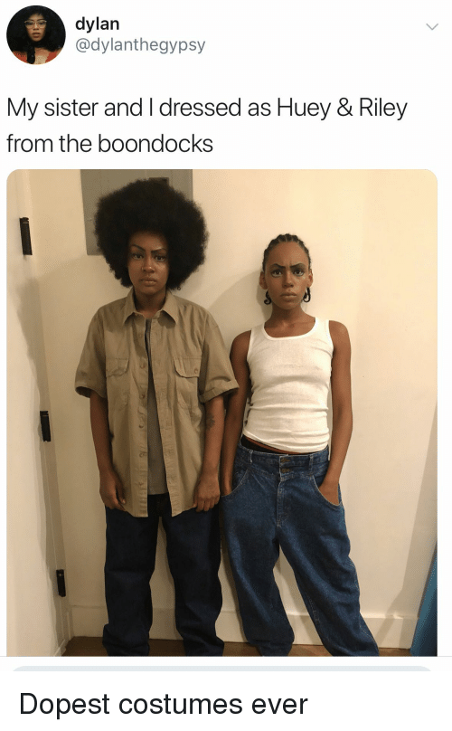 Blackpeopletwitter, Funny, and The Boondocks: dylan  @dylanthegypsy  My sister and I dressed as Huey & Riley  from the boondocks Dopest costumes ever