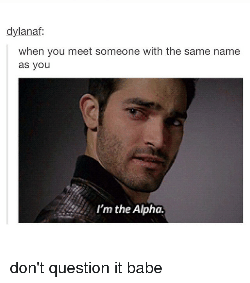 Babes, Girl Memes, and Alphas: dylanaf:  when you meet someone with the same name  as you  I'm the Alpha. don't question it babe