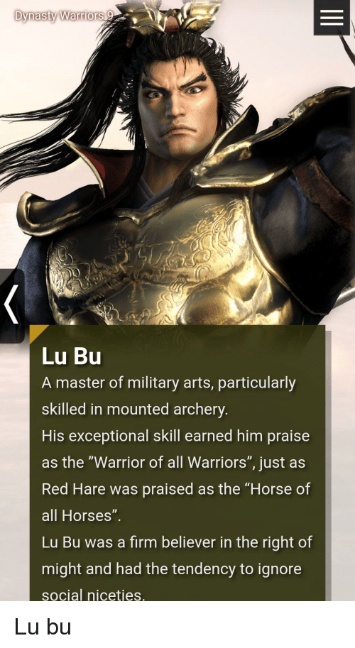 dynasty warriors lu bu a master of military arts particularly