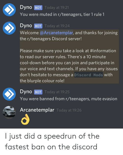 Dyno BOT Oday at 1921 You Were Muted in Rteenagers Tier 1 Rule 1