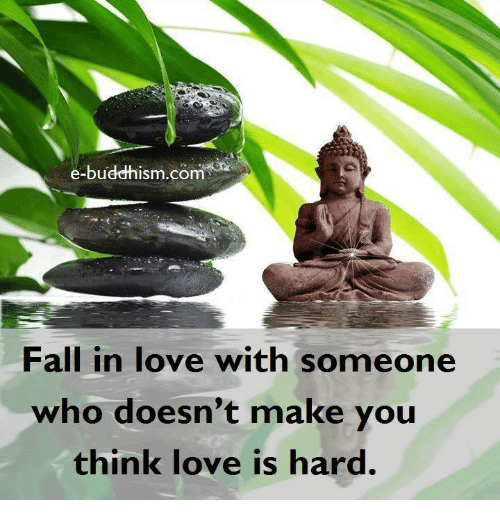 Memes, Buddhism, and 🤖: e-buddhism com  Fall in love with someone  who doesn't make you  think love is hard.