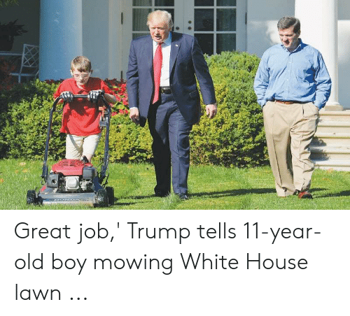 E Great Job Trump Tells 11 Year Old Boy Mowing White House