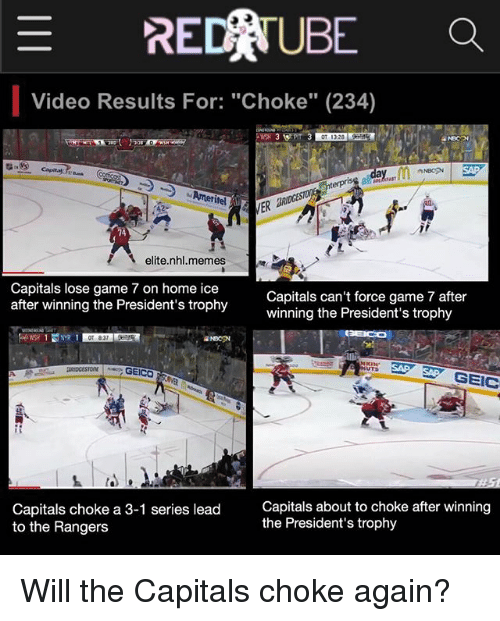 E Red Ube A Video Results For Choke 234 Elite Nhlmemes Capitals Lose