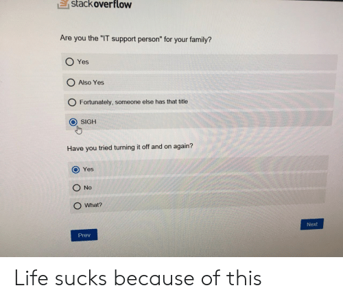 """Family, Life, and Yes: E  stackoverflow  Are you the """"IT support person"""" for your family?  O Yes  O Also Yes  O Fortunately, someone else has that title  O SIGH  Have you tried turning it off and on again?  O Yes  O No  O What?  Next  Prev Life sucks because of this"""
