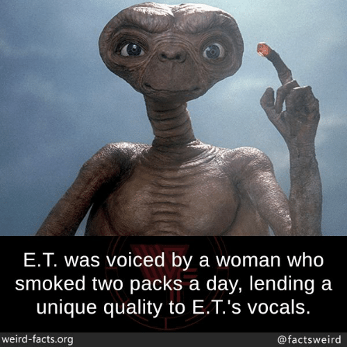 Facts, Memes, and Weird: E.T. was voiced by a woman who  smoked two packs a day, lending a  unique quality to E.T.'s vocals  weird-facts.org  @factsweird