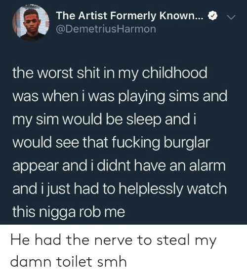 Smh, The Worst, and Alarm: e  The Artist Formerly Known  @DemetriusHarmon  the worst shit in my childhood  was when i was playing sims and  my sim would be sleep and i  would see that fucking burglar  appear and i didnt have an alarm  and i just had to helplessly watch  this nigga rob me He had the nerve to steal my damn toilet smh
