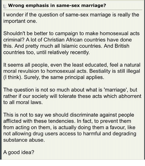 Whats wrong about same sex marriage
