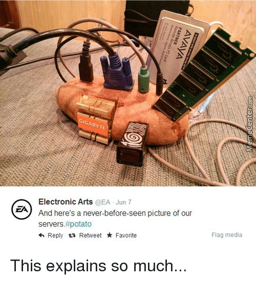 Memes, Electronic Arts, and 🤖: EA  GABYTE  Electronic Arts  @EA Jun 7  And here's a never-before-seen picture of our  servers. #potato  Reply  ta Retweet Favorite  Flag media This explains so much...