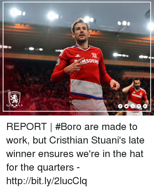 Memes, Work, and Http: ea  SDE  涝  O REPORT | #Boro are made to work, but Cristhian Stuani's late winner ensures we're in the hat for the quarters - http://bit.ly/2lucClq