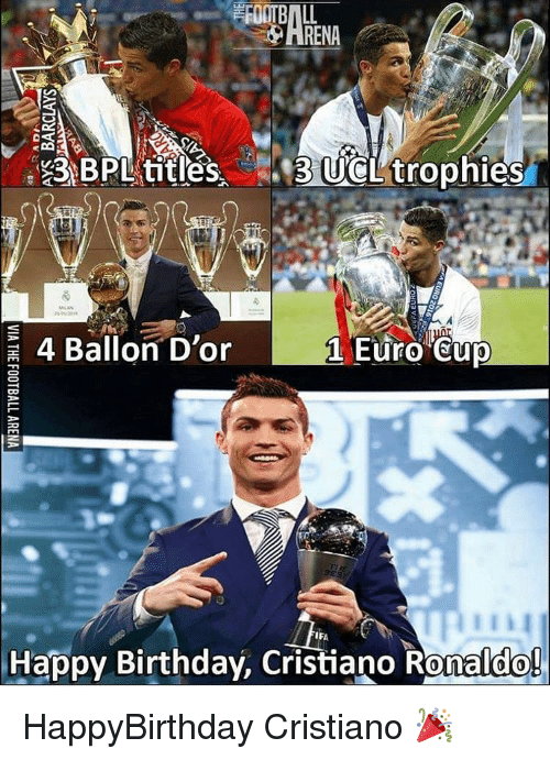 Memes, Euro, and 🤖: EAA  BPL titles  UCL trophies  4 Ballon D'or  Euro Cup  IF  Happy Birthday, Cristiano Ronaldo! HappyBirthday Cristiano 🎉