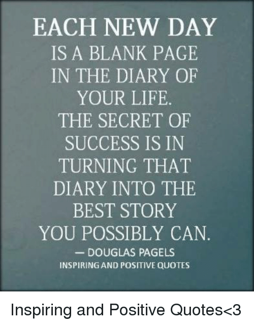 Each New Day Is A Blank Page In The Diary Of Your Life The Secret Of