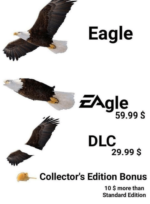 Eagle, Dlc, and More: Eagle  Agle  59.99 S  DLC  29.99 $  Collector's Edition Bonus  10 $ more than  Standard Edition